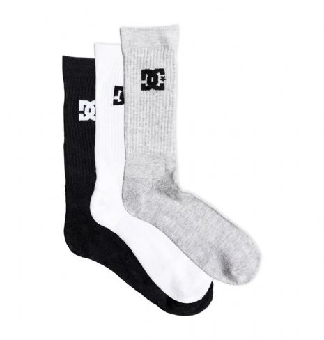 DC SHOES MENS SOCKS.3 MULTI PACK CREW GREY BLACK WHITE CALF SOCK UK 7-10 8W 49 K